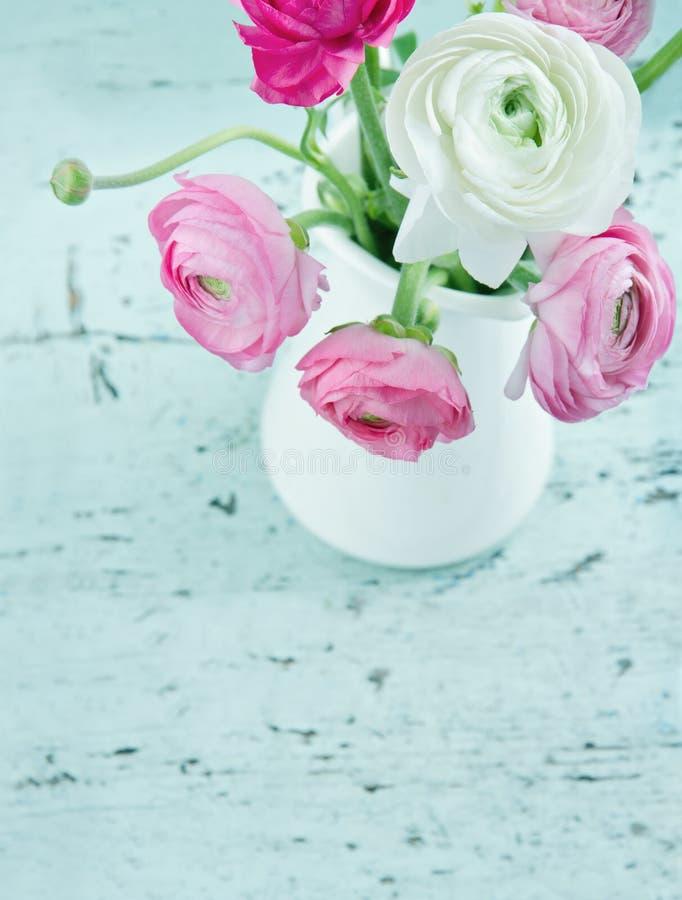 Pastell färgar blommor på sjaskig chic bakgrund royaltyfri fotografi