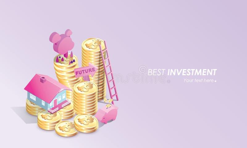 Pastell- Farbe-bitcoin Konzept-Vektorillustration des Hauses, der Treppe, der Sparschweinspareinlagen und der Herstellungs-Invest stock abbildung