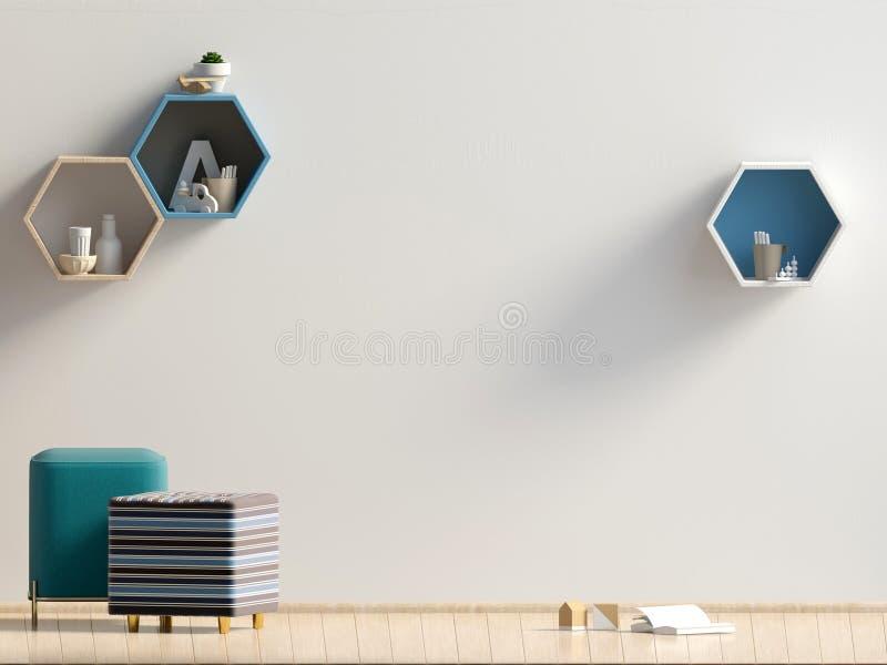 Pastell- Kind-` s Raum playroom Moderne Art Abbildung 3D Wandspott oben lizenzfreie abbildung