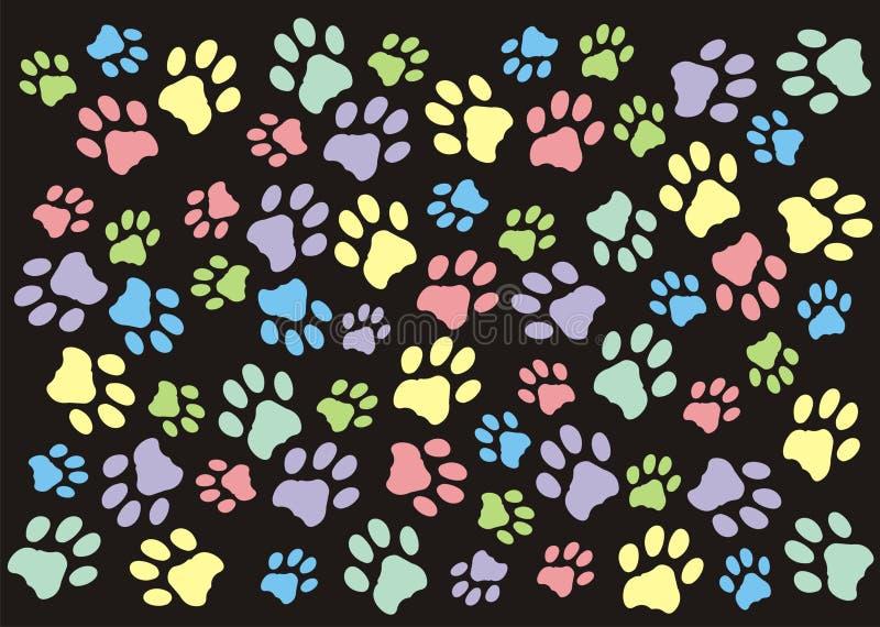 Pastell-Paw Prints Wallpaper Background lizenzfreie abbildung