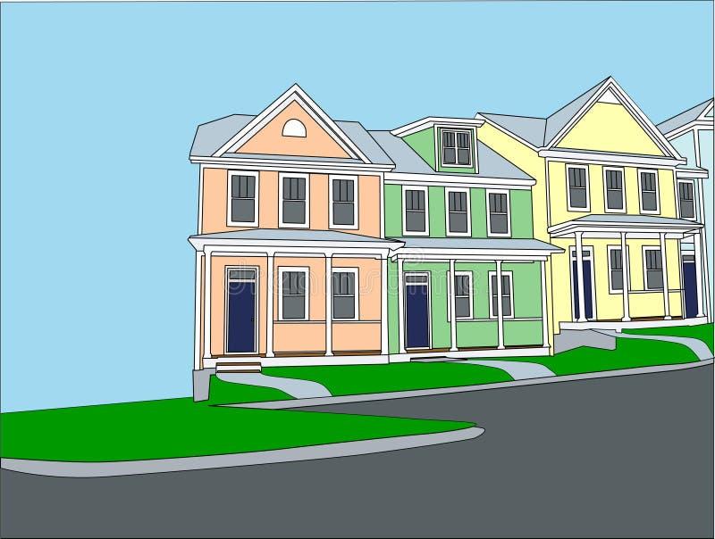 pastell terrasserade townhouses stock illustrationer