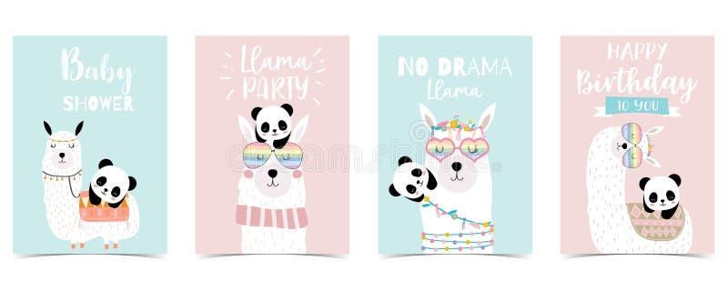 Pastellbabypartyeinladungskarte mit Lama und Panda stock abbildung