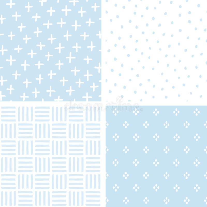 Pastellblau der netten nahtlosen geometrischen Baby-Muster des Satzes vektor abbildung
