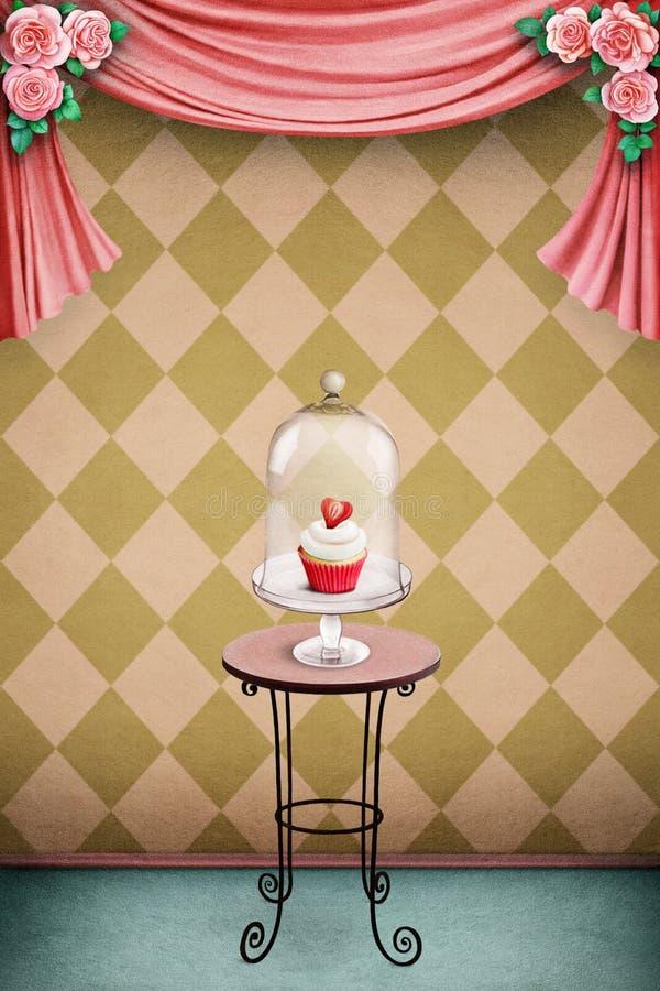 Pastellfärgad bakgrund med kakan stock illustrationer