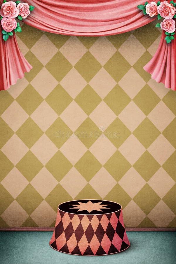 Pastellfärgad bakgrund med podiet royaltyfri illustrationer