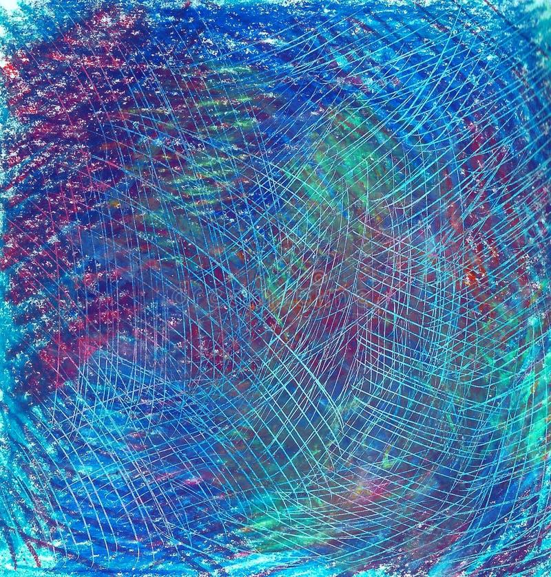 Pastellfärgad bakgrund med skrapor Blått blått, grönt, sjaskigt royaltyfri illustrationer