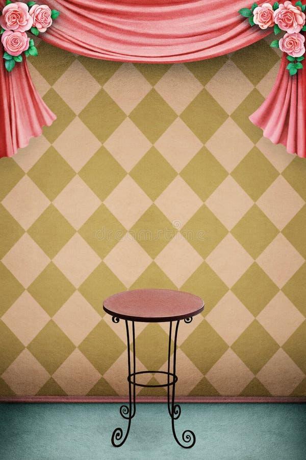 Pastellfärgad bakgrund med tabellen royaltyfri illustrationer