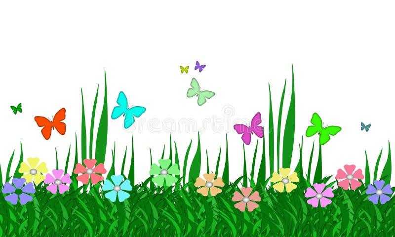 Pastellfärgad blommaträdgård, gräs och fjärilar royaltyfri illustrationer