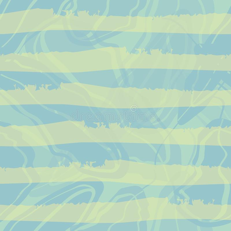 Pastellfärgad horisontalrandig design för blå och grön akvarell Sömlös vektormodell på blå marmorerad virvelbakgrund stock illustrationer