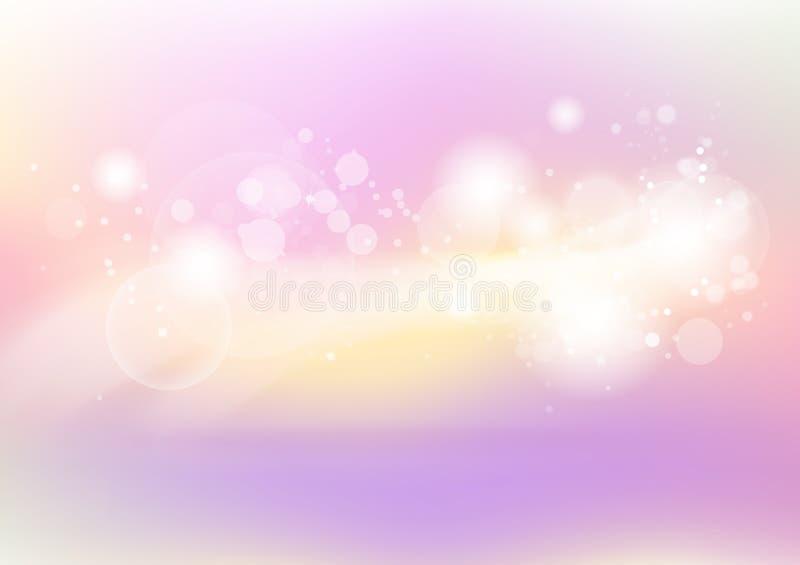 Pastellfärgad, rosa och guld-, abstrakt färgrik oskarp bakgrund, bub vektor illustrationer