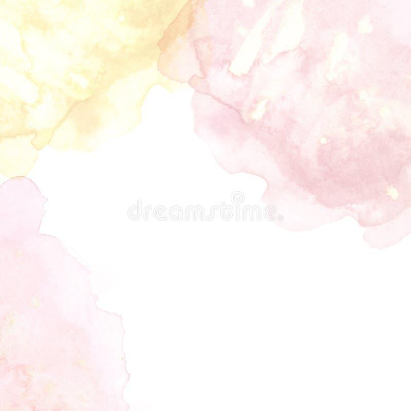 Pastellfärgad rosa och guld- bakgrund med vattenfärgfärgstänk, för färgpulverfläckar för hand utdragen vätsketextur vektor illustrationer