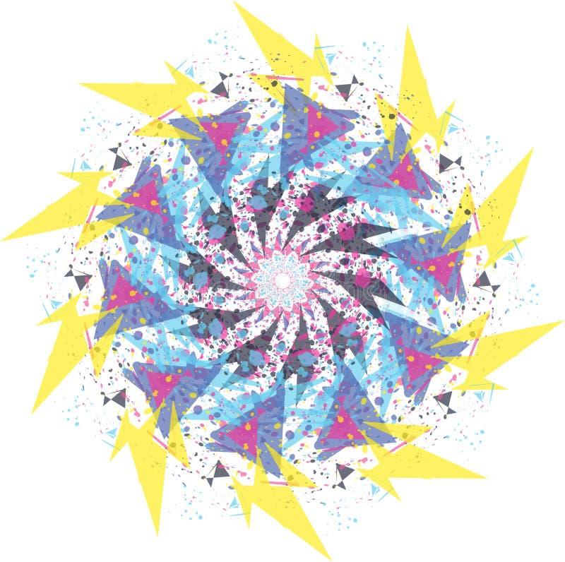 pastellfärgad rund mandalaprydnad för abstrakt blomma stock illustrationer