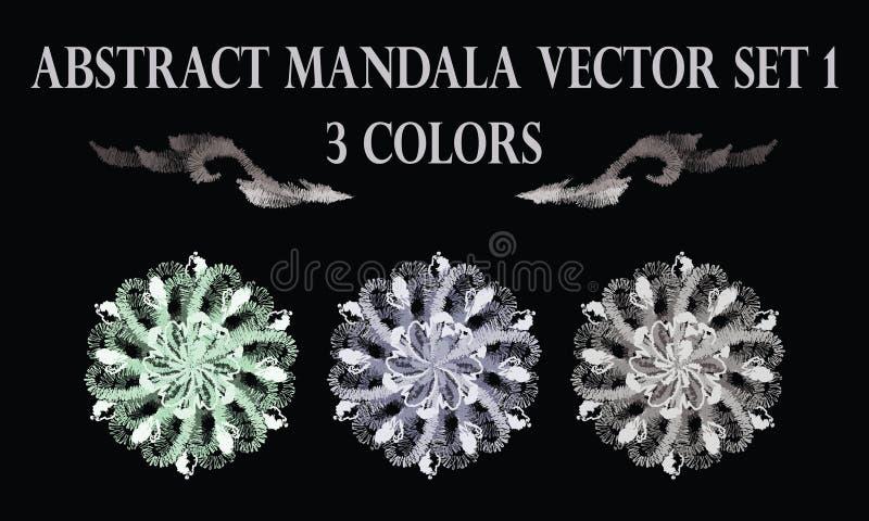 Pastellfärgad rund mandalaprydnad för abstrakt blomma royaltyfri illustrationer