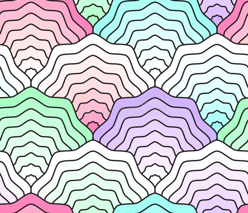 Pastellfärgad våg sömlös modell, fisksvans, sjöjungfrusvans, snäckskal stock illustrationer