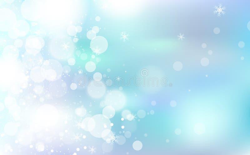 Pastellfärgade Bokeh, vinterberömfestival med stjärnor sprider det ljusa glänsande begreppet, snöflingakonfetti som faller, damm  stock illustrationer