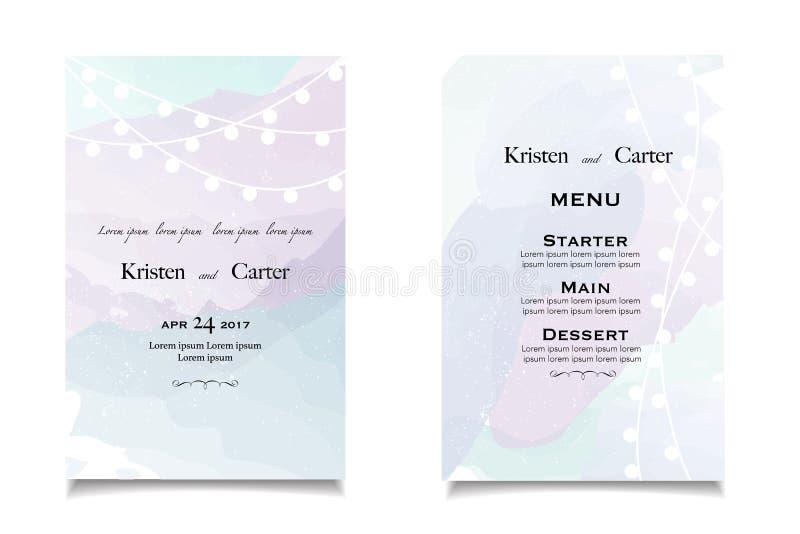 Pastellfärgade bröllopinbjudningar och meddelande med tappningbakgrundskonstverk royaltyfri illustrationer