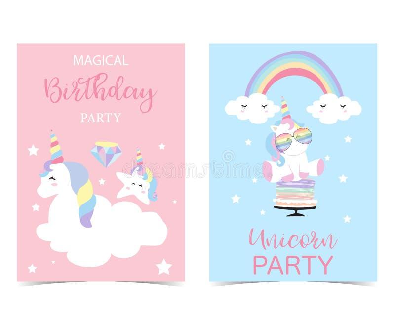 Pastellfärgade rosa färger slösar kortet med enhörningen, kakan, huvudet, regnbåge vektor illustrationer