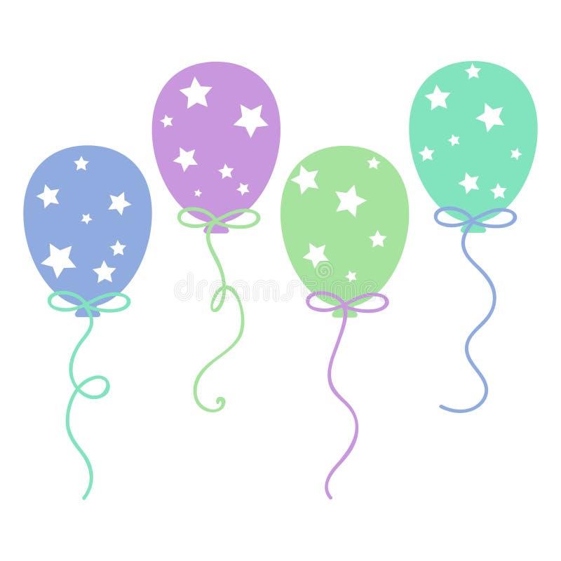 Pastellfärgade stjärnaballonger vektor illustrationer