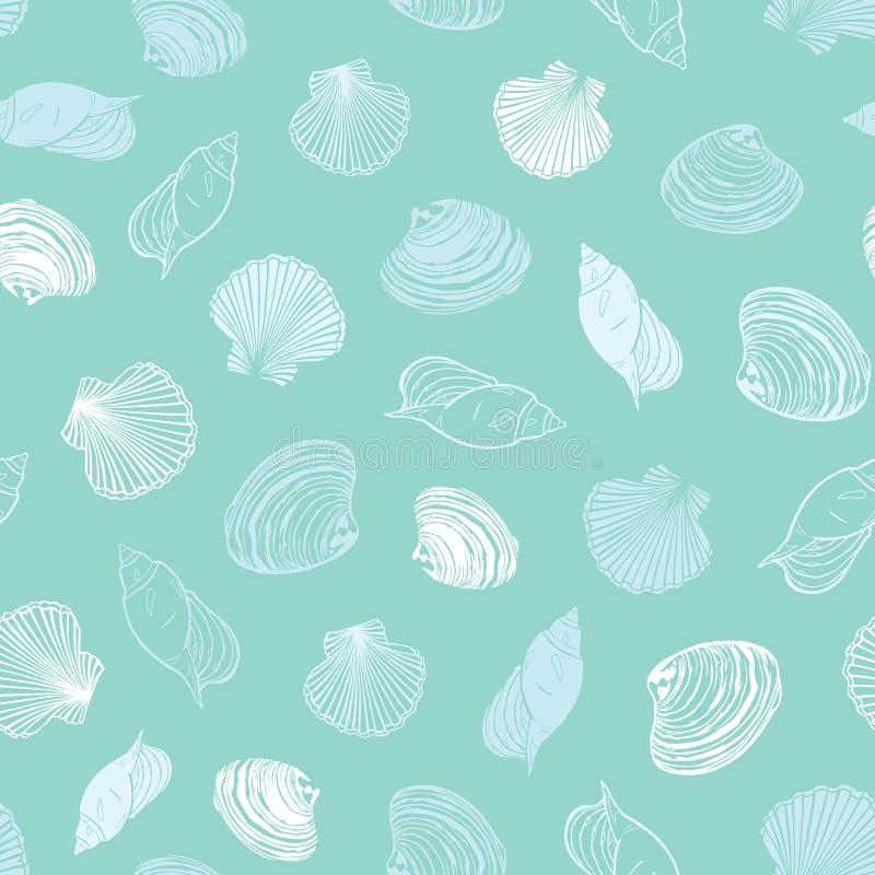 Pastellfärgat ljust för vektor - blå modell för snäckskalparadisrepetition Passande för gåvasjal, textil och tapet vektor illustrationer