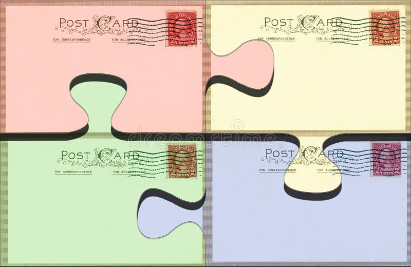 pastellfärgat vykortpussel arkivfoto