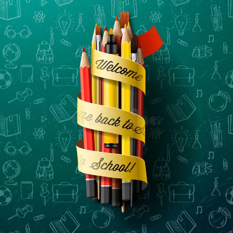 Pastelli con testo di nuovo alla scuola sul nastro illustrazione di stock
