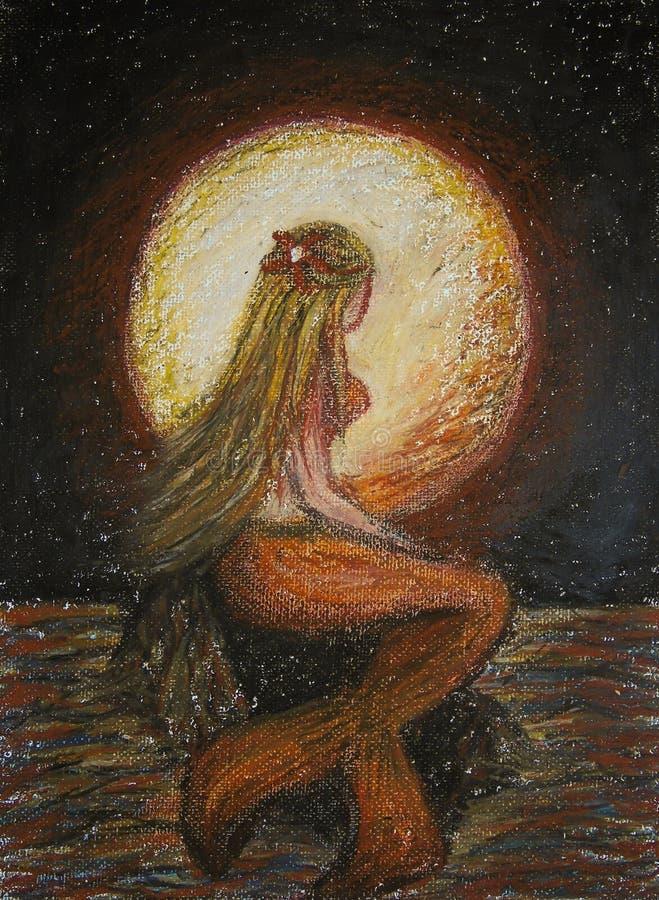 Pastelli dell'olio che dipingono sulla tela della condizione bionda della sirena su una roccia nel mare con la grande luna rossa  royalty illustrazione gratis