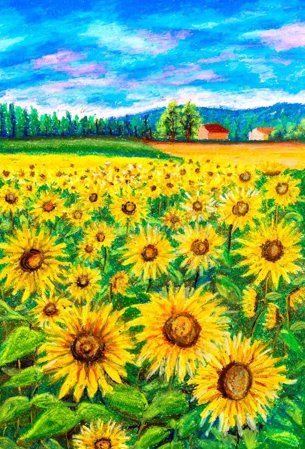Pastellmalerei - Sonnenblume lizenzfreie stockfotos