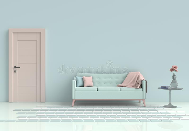 Pastellraum verziert mit hellgrünem Sofa lizenzfreie stockbilder
