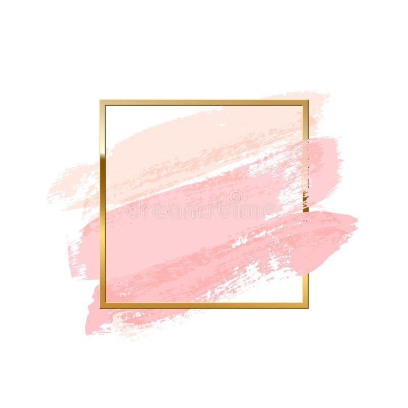 Pastellrosa-Bürstenanschläge mit dem quadratischen goldenen Rahmen lokalisiert auf weißem Hintergrund Einfach zu bearbeiten stock abbildung