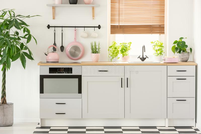 Pastellrosawanne und -kessel in einem schönen Kücheninnenraum mit den einfachen, weißen Schränken und sinken am Fenster mit Vorhä stockfotos