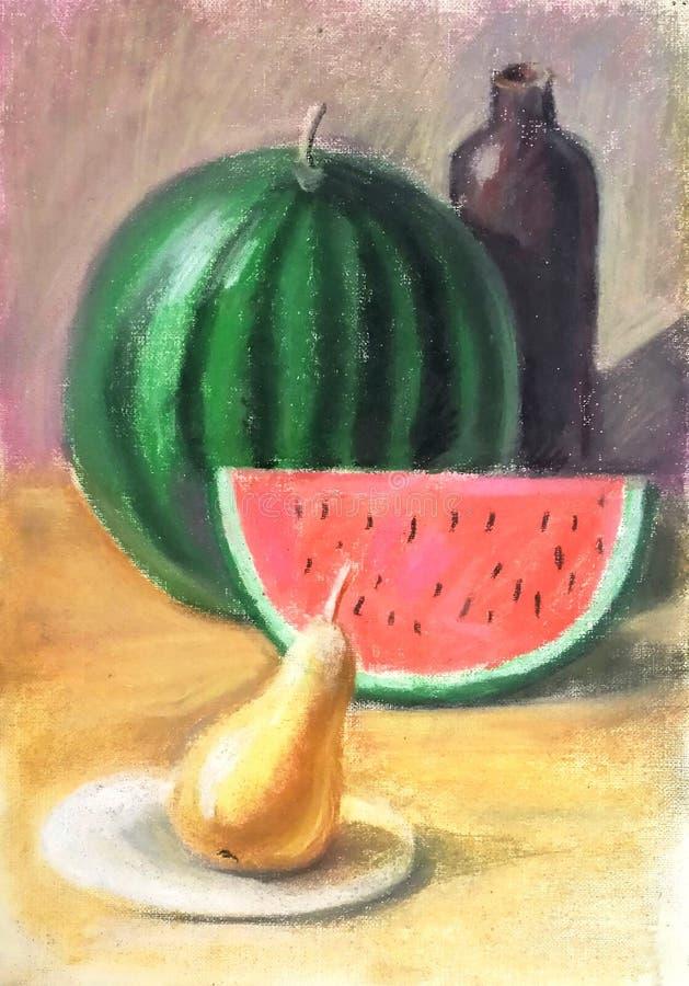 Pastellstillleben einer Wassermelone stock abbildung