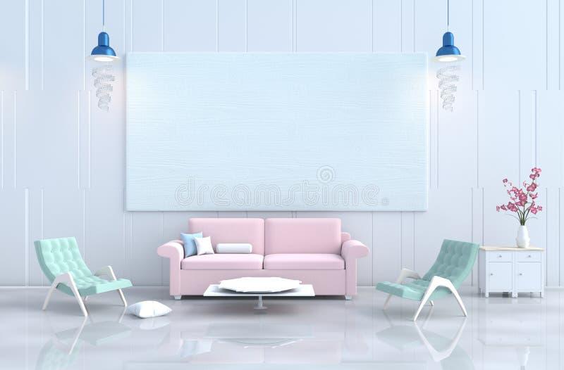 Pastellwohnzimmer am Tag des Weihnachten, neues Jahr lizenzfreie abbildung