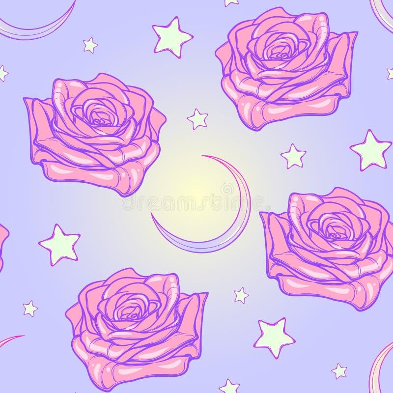 Pastelowa goth księżyc i róża bezszwowy wzór ilustracja wektor