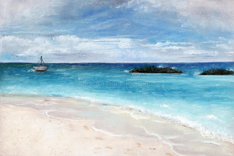 Pastelowa ilustracja z pięknym błękitnym morzem obraz stock