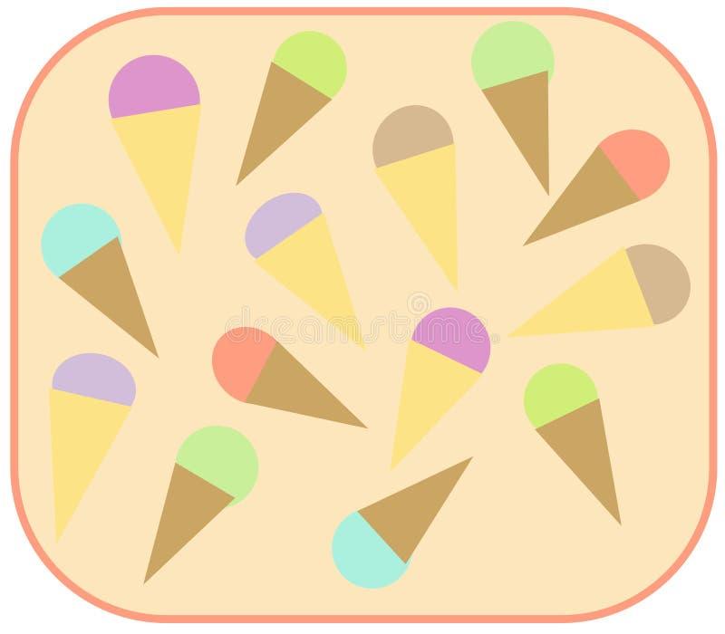 Pastelowa lody rożka projekta ilustracja w zaokrąglonej śmietance barwił tło obraz royalty free