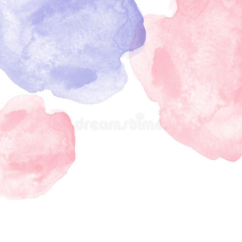 Pastelowa menchia i purpurowa błękitna akwarela bryzgamy sztandar, odizolowywającego na białym tle ilustracji