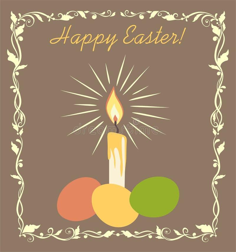 Pastelowa retro Wielkanocna kartka z pozdrowieniami z złotą świeczką i malującymi jajkami royalty ilustracja