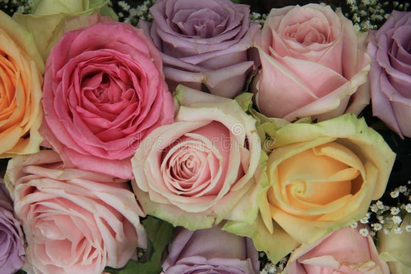 Pastelowe róże w bridal przygotowania obrazy stock