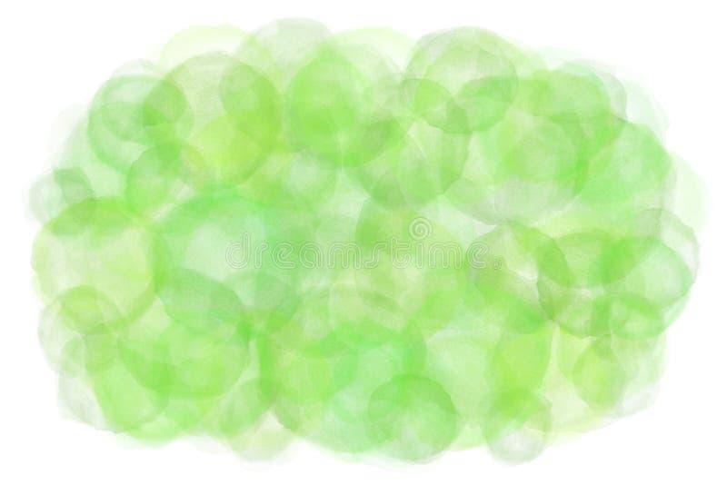 Pastelowego koloru lata zieleni abstrakt na naturalnym akwareli ręki farby tle ilustracji