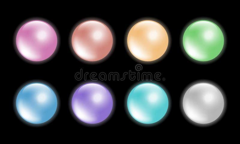 Pastelowego koloru piłki ustawiają 8 kolorów Odosobniony na czarnym tle ilustracji