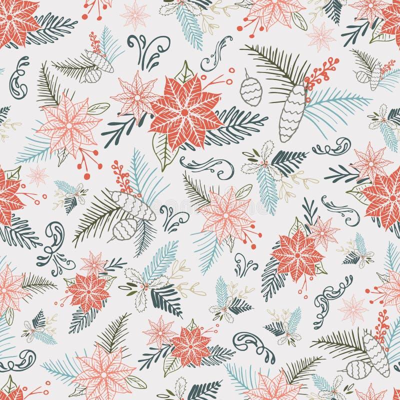 Pastelowej wektorowej zimy Bożenarodzeniowy ulistnienie ornamentuje bezszwowego wzór Elegancki retro doodle stylu sezonu wakacyjn royalty ilustracja