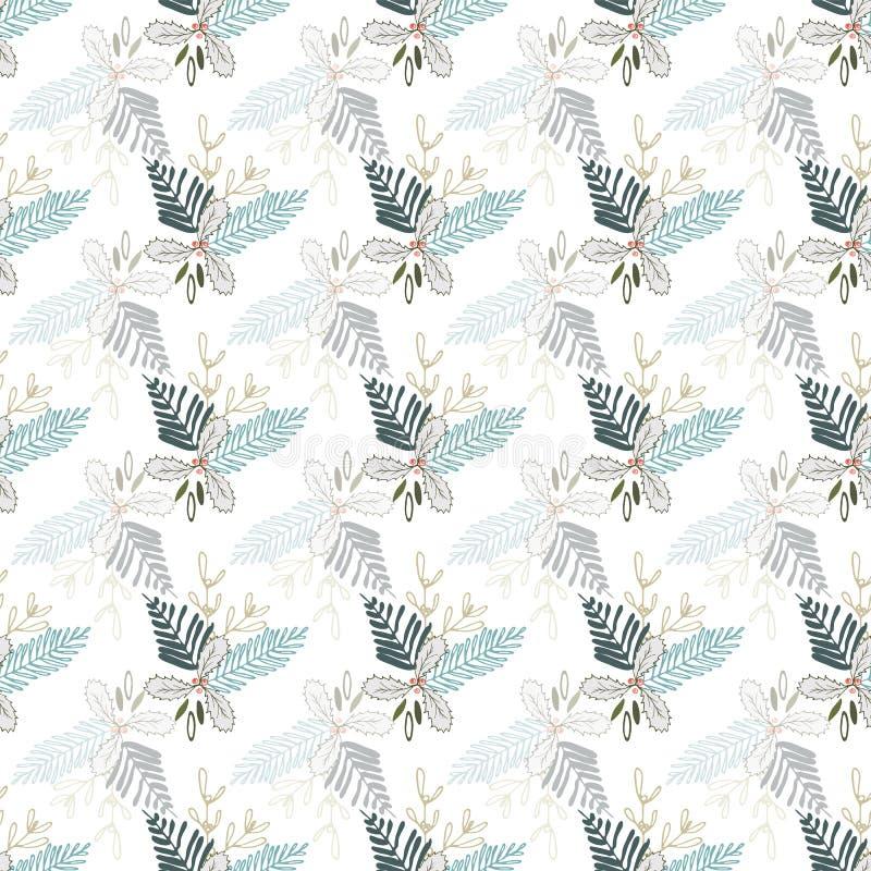 Pastelowej wektorowej zimy Bożenarodzeniowy ulistnienie ornamentuje bezszwowego wzór Elegancki retro doodle stylu sezonu wakacyjn ilustracja wektor
