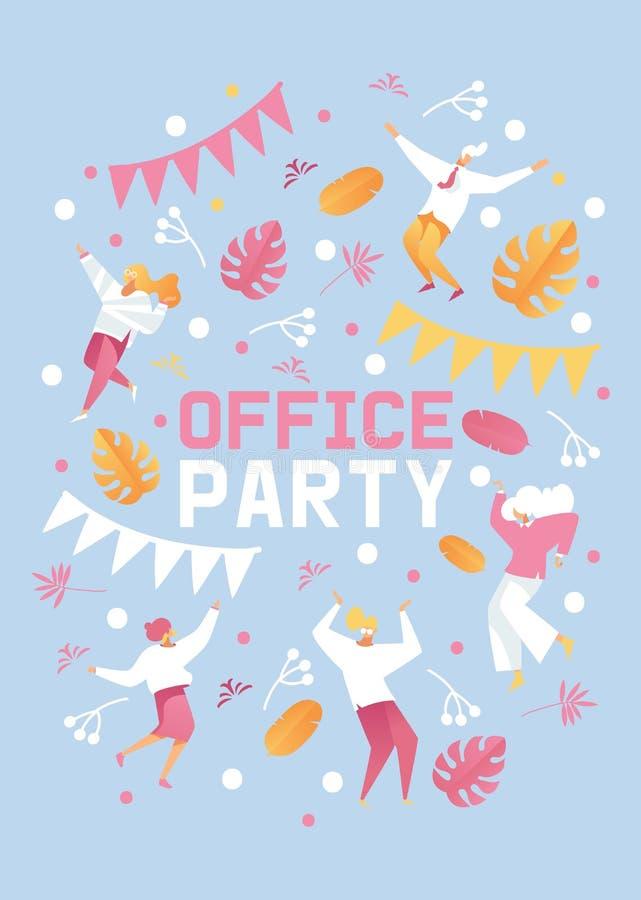 Pastelowi kolory plakat lub broszura dla biurowego przyjęcia Menchia, błękit i kolor żółty, barwimy, tanczący ludzi, liście i gre royalty ilustracja