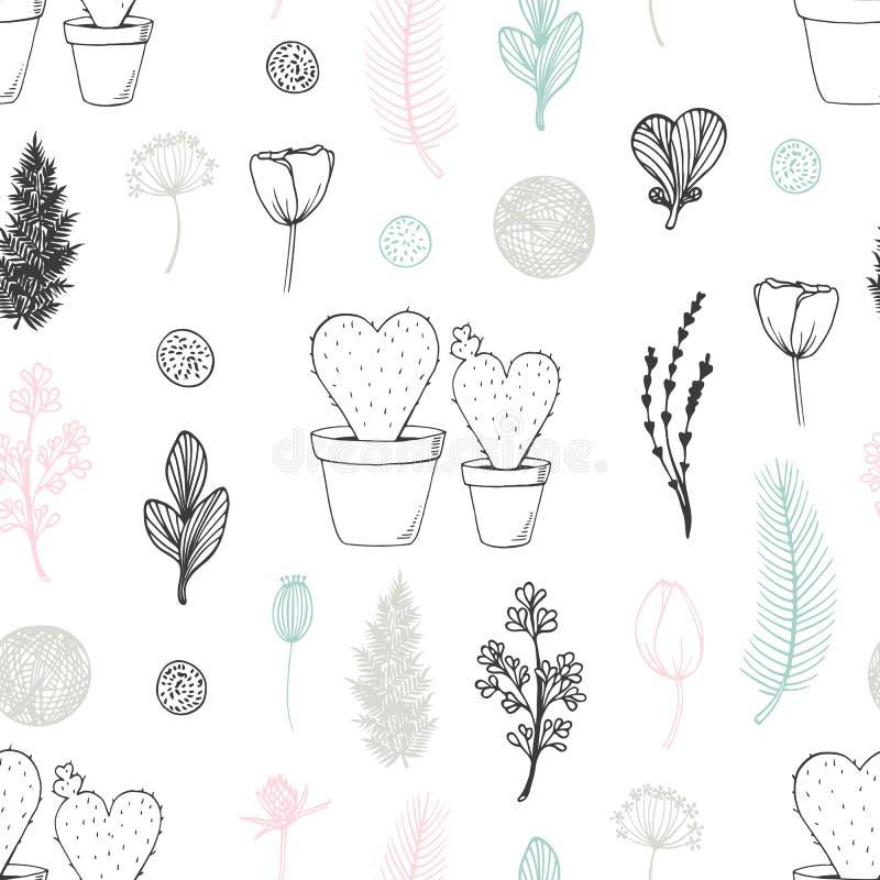 Pastelowy bezszwowy wzór z ręka rysującymi kwiatami i kaktusami śliczny tła doodle royalty ilustracja