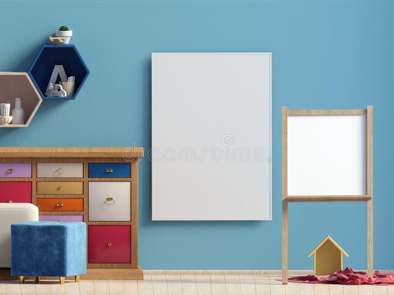 Pastelowy dziecka ` s pokój playroom Nowożytny styl ilustracja 3 d Plakata egzamin próbny Up ilustracja wektor