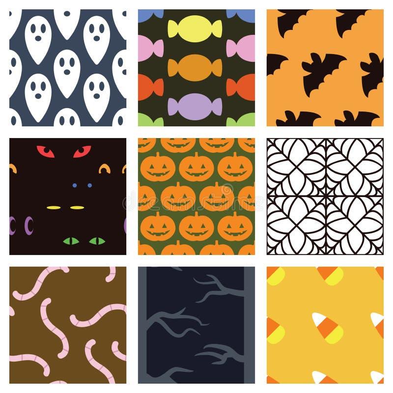 Pastelowy Halloweenowy tło set royalty ilustracja