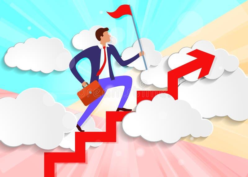 pastelowy minimalny biznesmen z teczką i flagą na rosnącej strzałce nad białymi chmurami royalty ilustracja