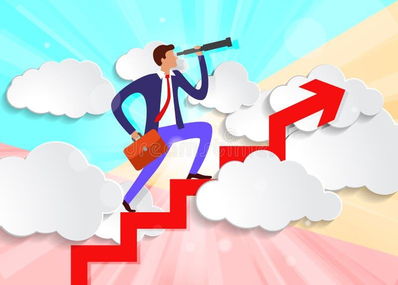pastelowy, minimalny biznesmen z teleskopem i aktówką, podnosi się na górę Strzałka nad białymi chmurami papieru ilustracji