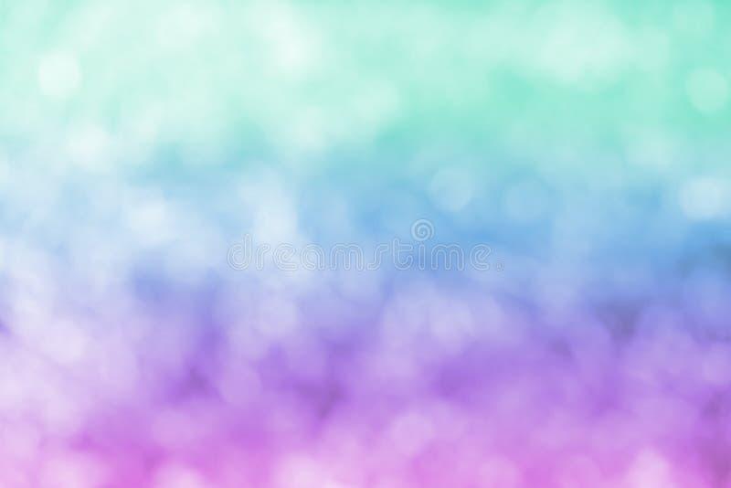 Pastelowy Purpurowy Błękitnej zieleni Bokeh tło zdjęcia stock