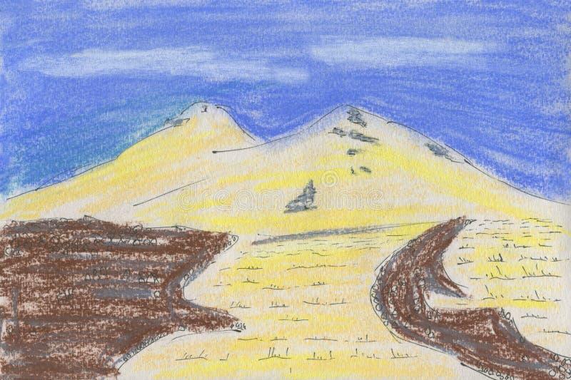 Pastelowy rysunek na papierze Śnieżna góra z dwa szczytami ilustracja wektor